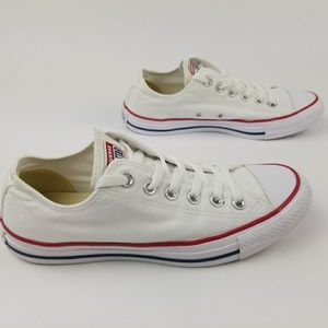 Converse White Sneakers Red Blue Stripe size 8.5